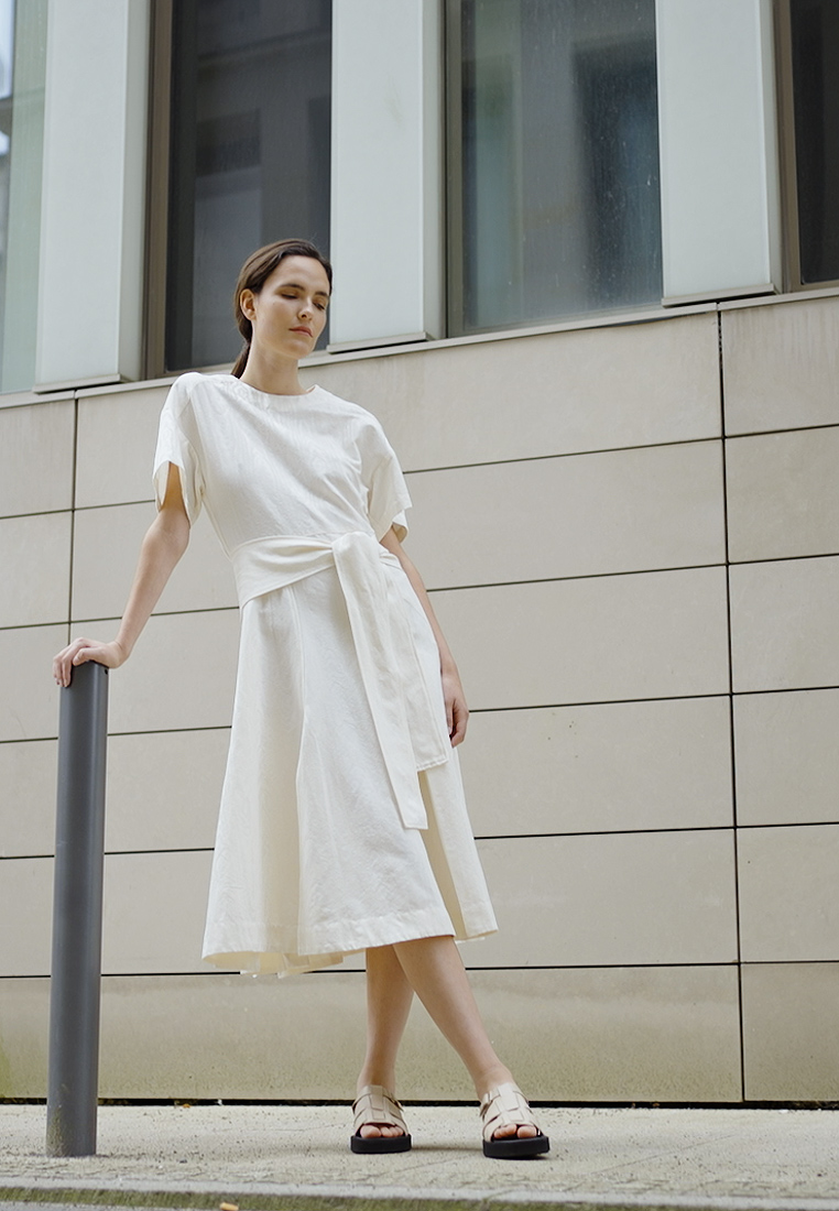 3.1 Phillip Lim - WRAPPED WAIST TIE DAY TSHIRT DRESS - Day dress - offwhite - 1