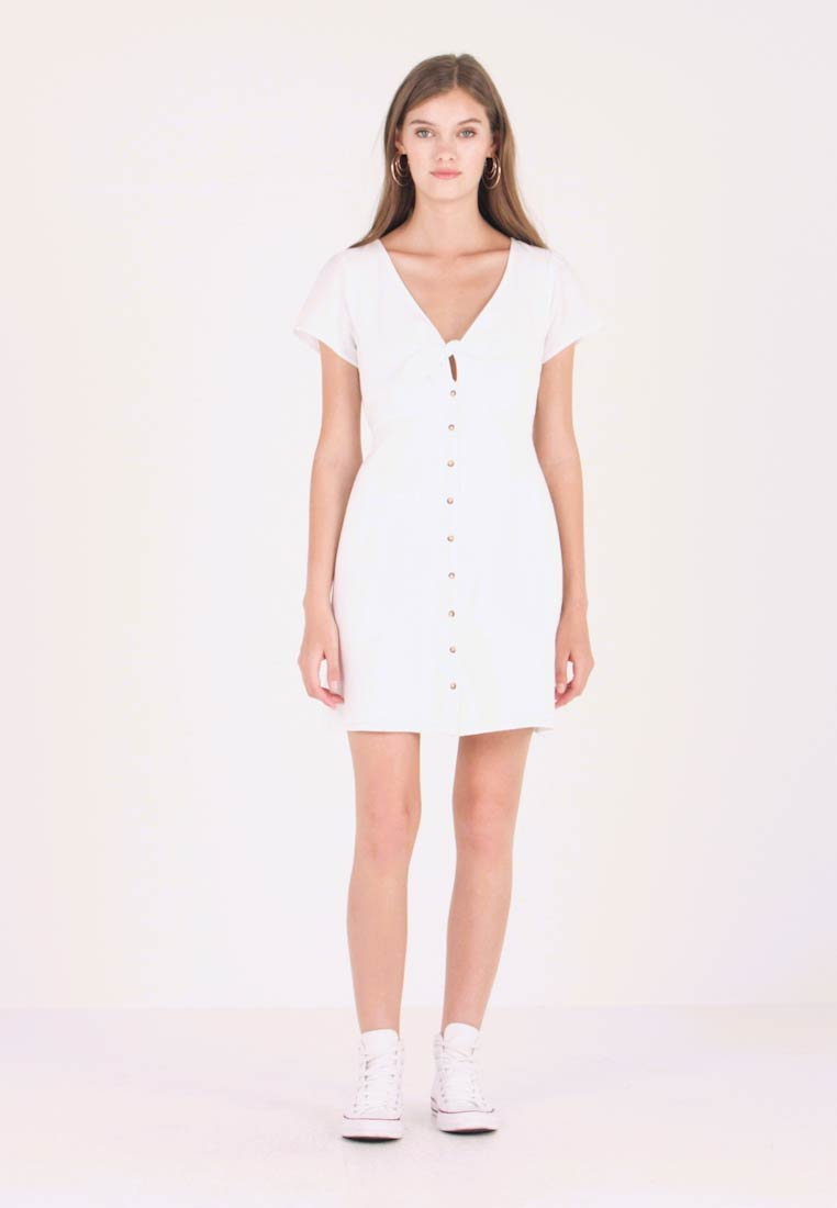 Abercrombie & Fitch - CAMP DRESS - Shirt dress - white solid - 1