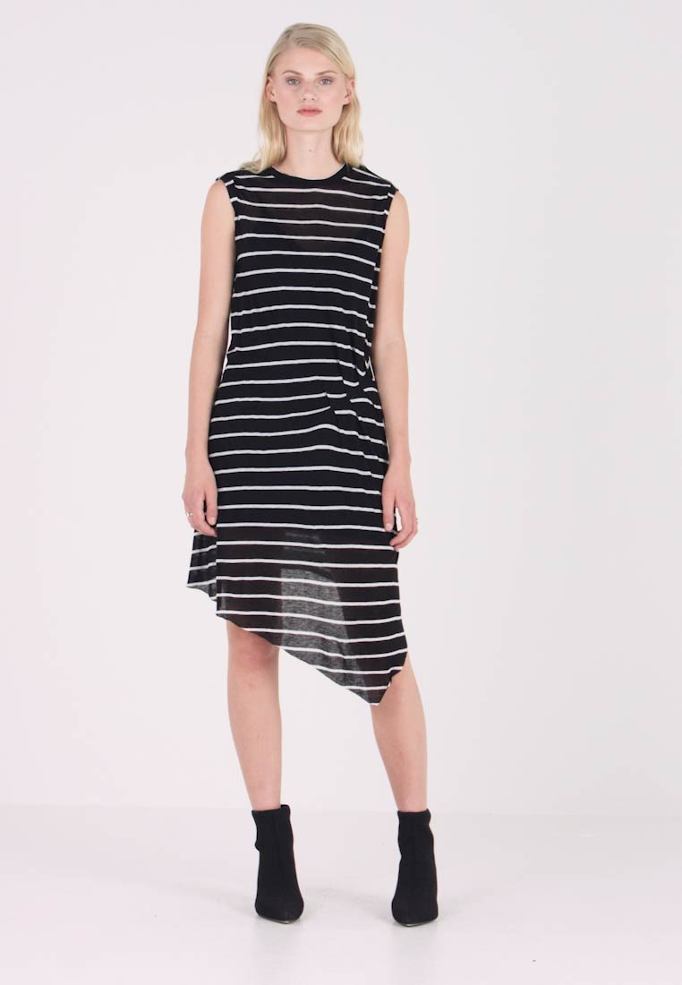 AllSaints - DUMA STRIPE DRESS - Denní šaty - black/chalk white - 1
