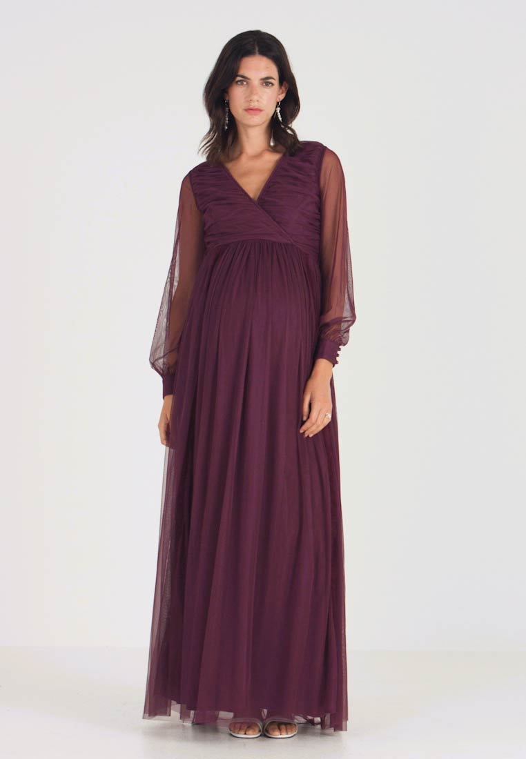 Anaya with love Maternity - LACE BARDOT WITH LONG SLEEVES - Vestido de fiesta - burgundy - 1