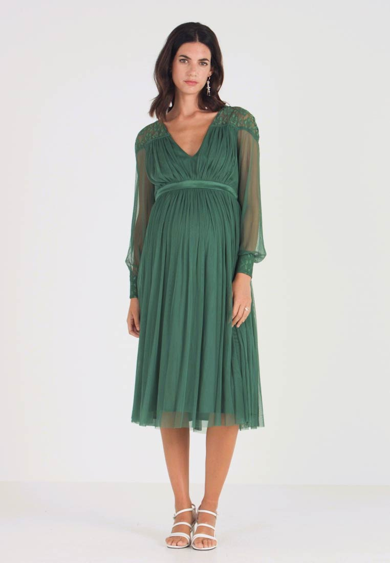 Anaya with love Maternity - LACE YOKE WITH LONG SLEEVES - Vestido de cóctel - emerald green - 1