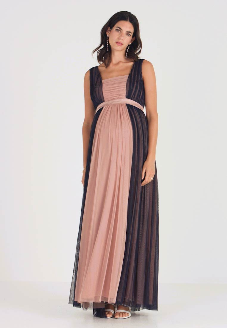 Anaya with love Maternity - CONRAST GATHERED MAXI DRESS WITH WAISTBAND - Vestido de fiesta - navy/pearl blush - 1