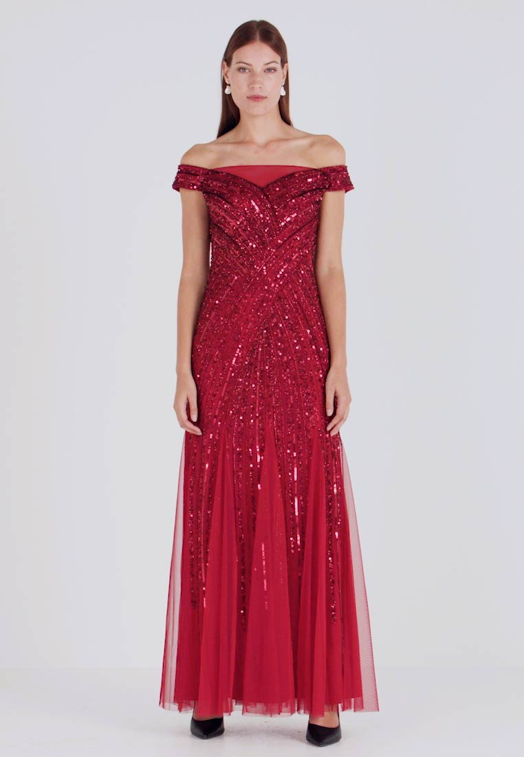 Adrianna Papell - BEADED OFF SHOULDER GOWN - Ballkjole - cranberry - 1