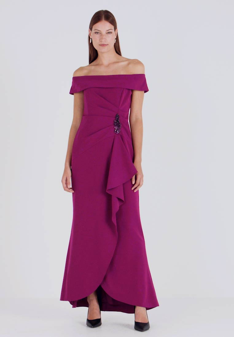 Adrianna Papell - OFF SHOULDER DRAPED GOWN - Iltapuku - wildberry - 1