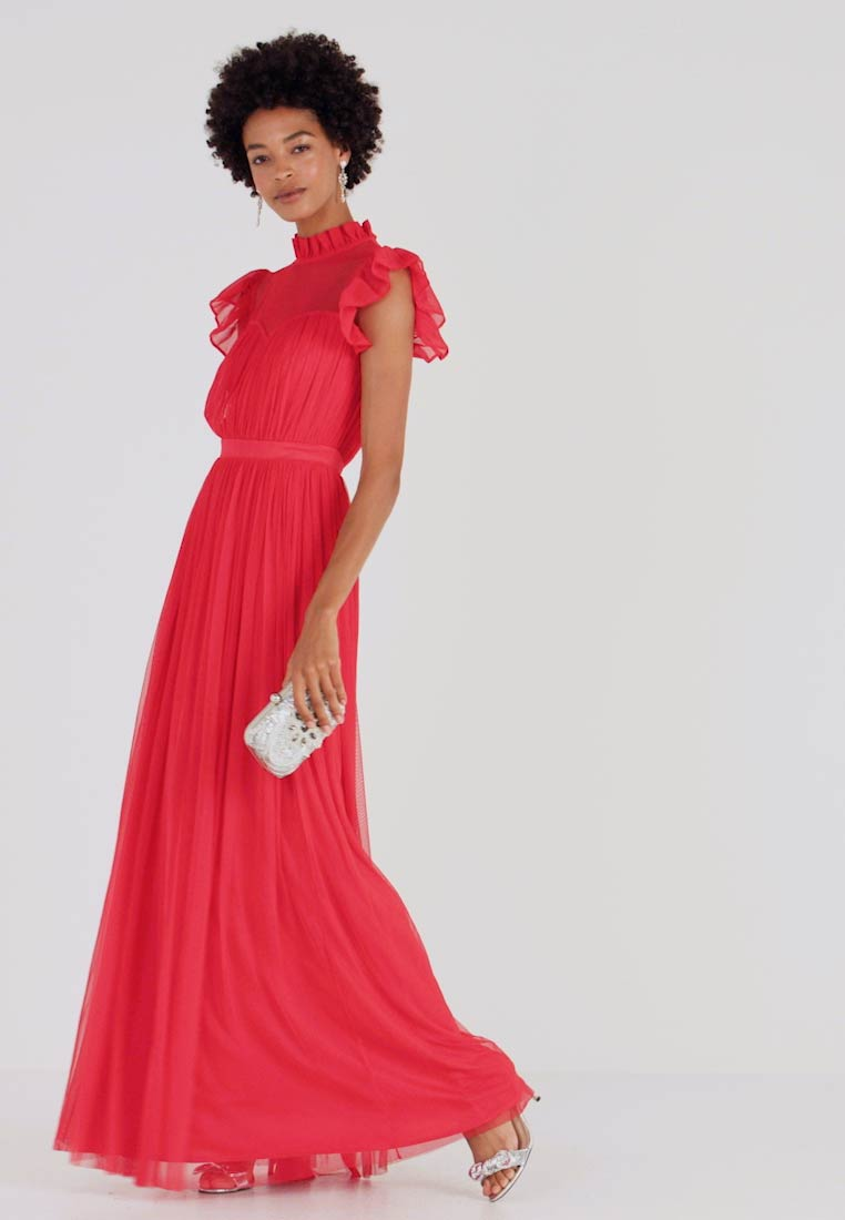 Anaya with love - HIGH NECK GATHERED DRESS WITH RUFFLE DETAILS - Ballkjole - red - 1