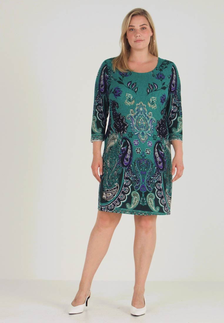 Anna Field Curvy - SHIFT STICHELHAAR DRESS - Pletené šaty - blue/green - 1
