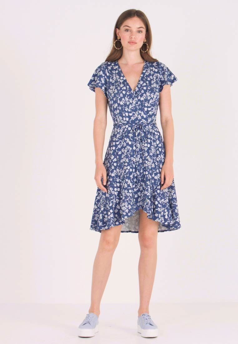 Banana Republic - WRAP PRINT DRESS - Jersey dress - indigo fog global - 1