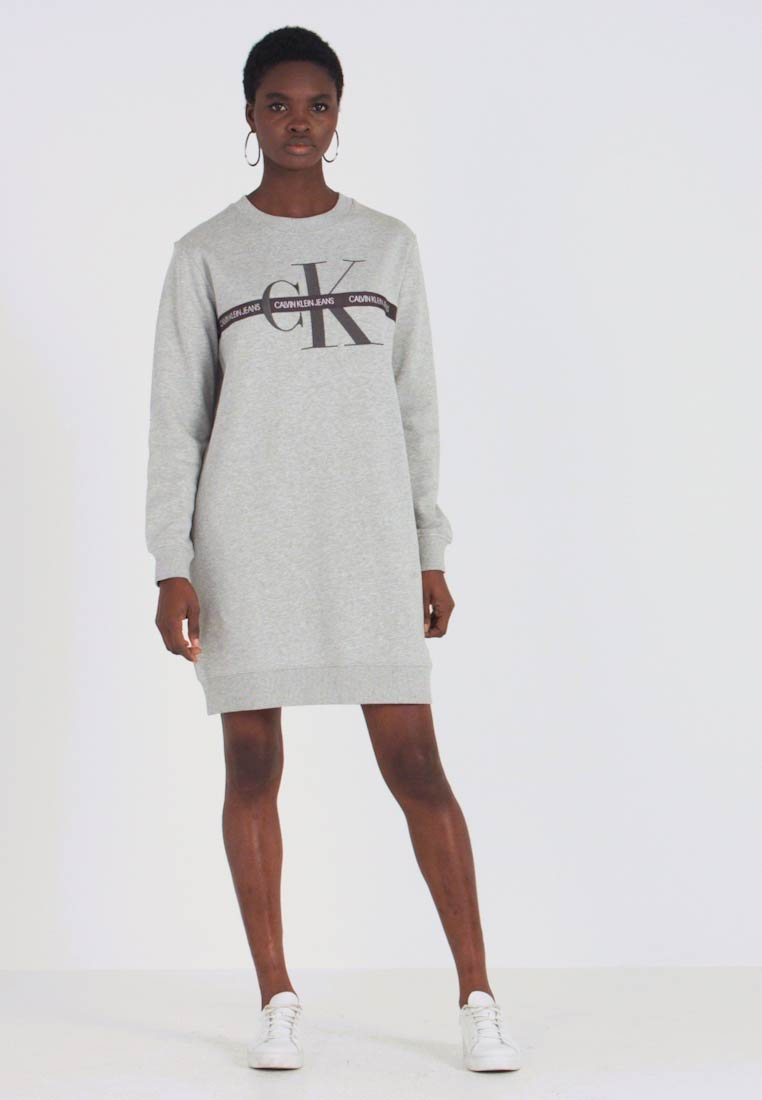 Calvin Klein Jeans Taping Through Monogram Dress - Kjole Light Grey Heather