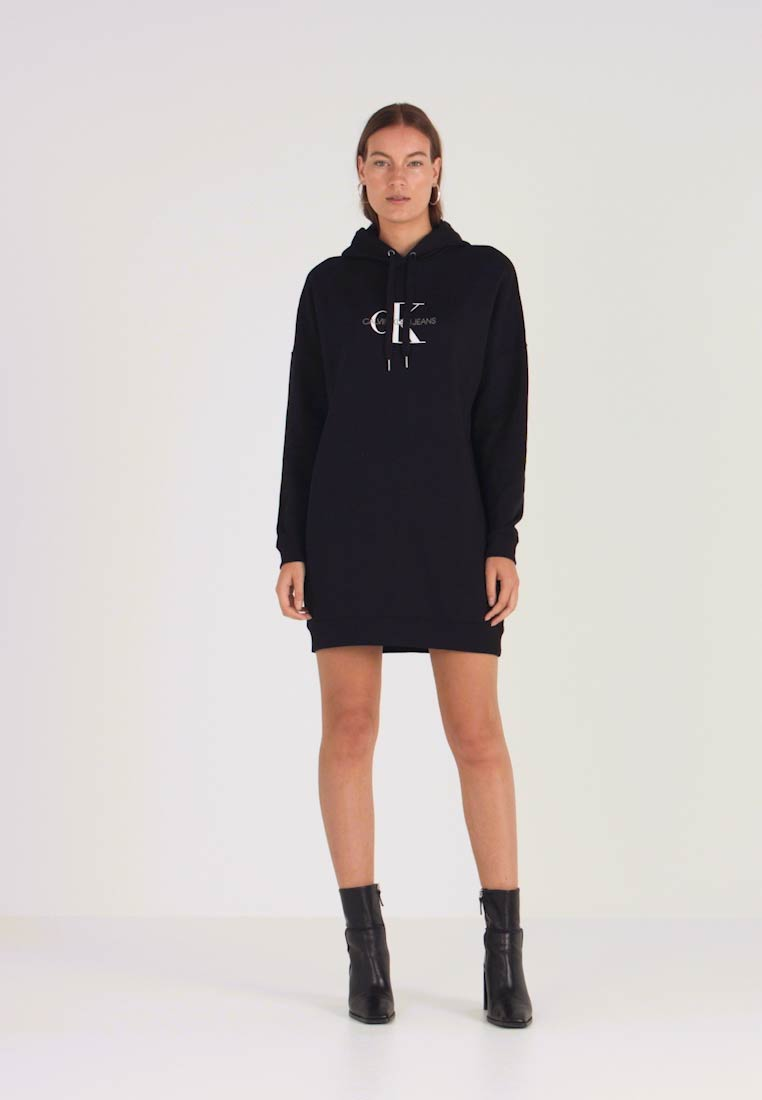 Calvin Klein Jeans - MONOGRAM HOODIE DRESS - Neulemekko - black beauty - 1