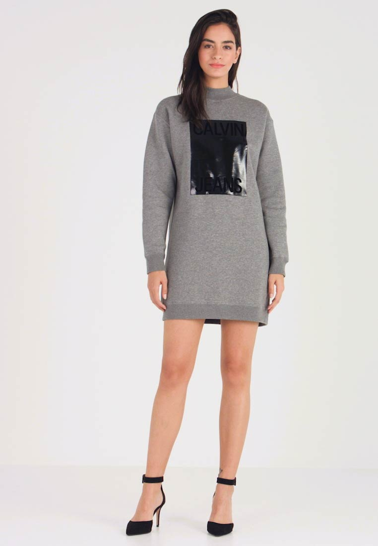 Calvin Klein Jeans - MOCK NECK DRESS - Denní šaty - mid grey heather - 1