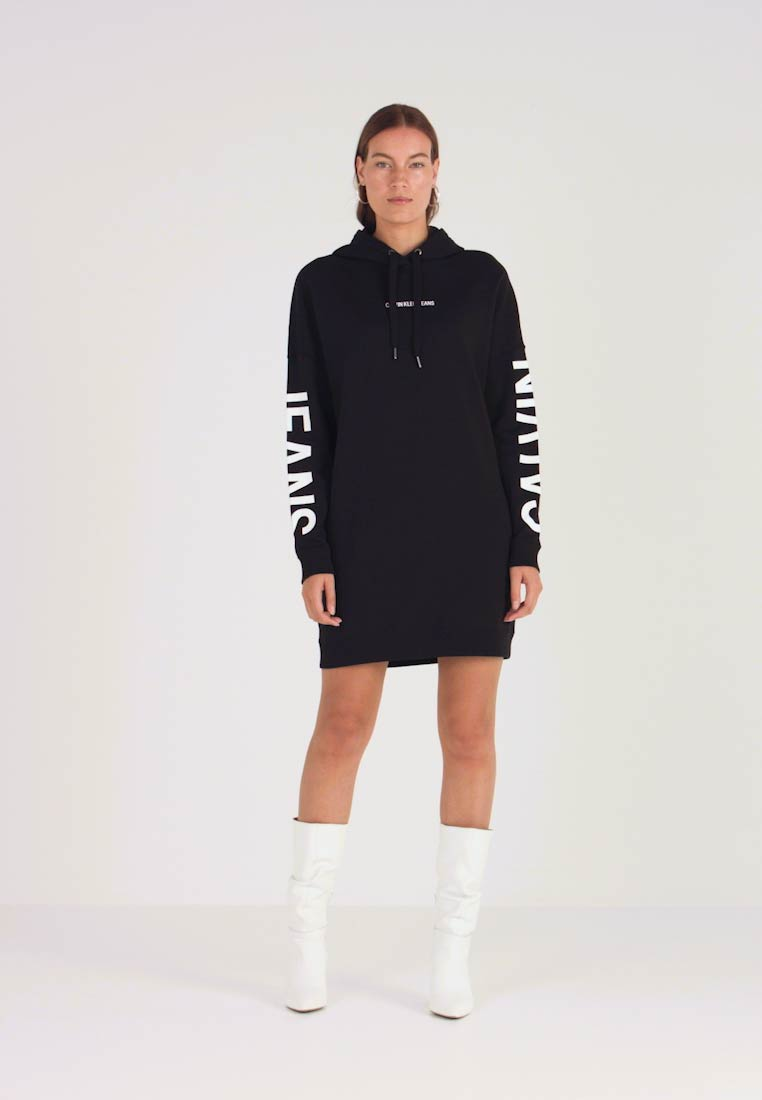 Calvin Klein Jeans - INSTITUTIONAL LOGO HOODIE DRESS - Kjole - black beauty - 1