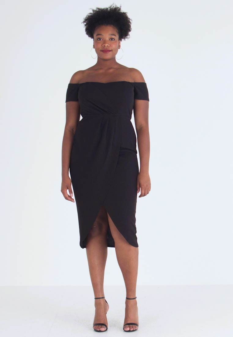 CAPSULE by Simply Be - BARDOT WRAP MIDI DRESS - Vestido de tubo - black - 1