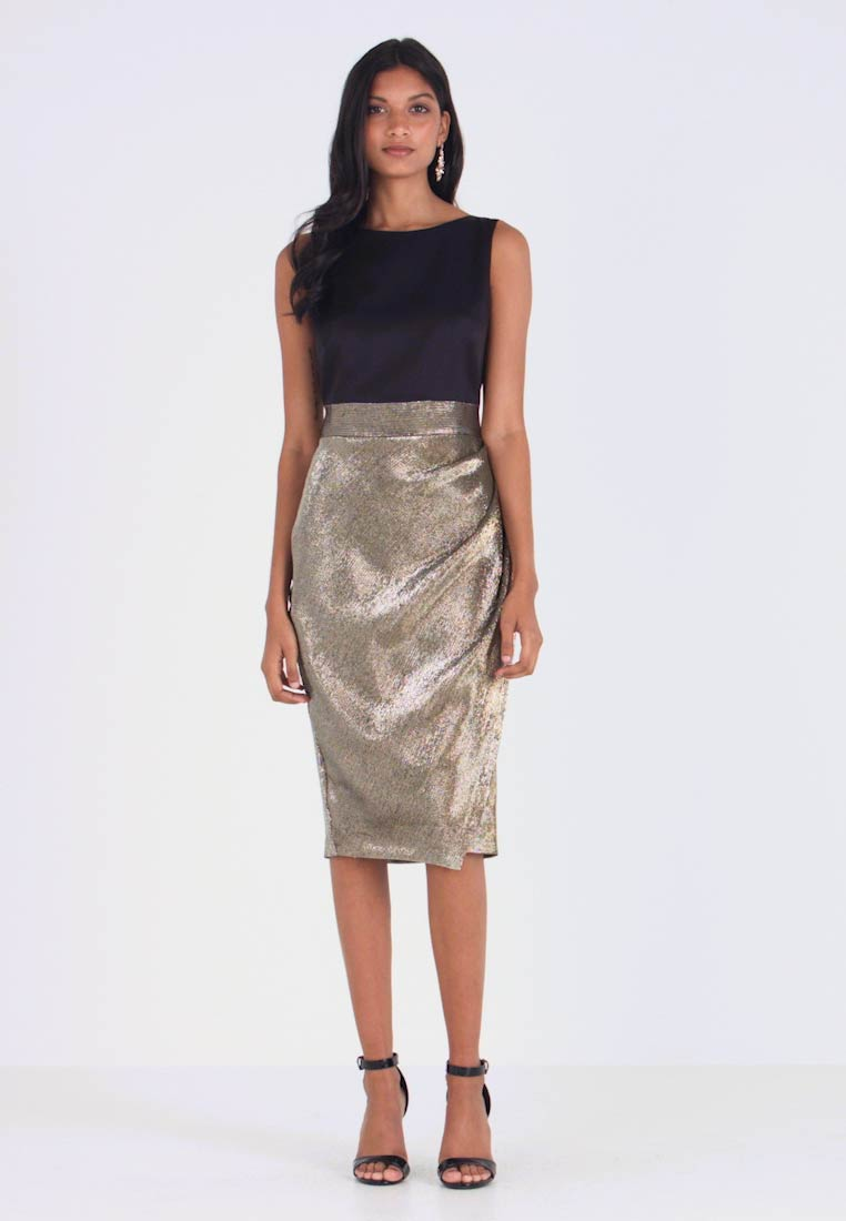 Closet - PLEATED PENCIL DRESS - Day dress - gold - 1