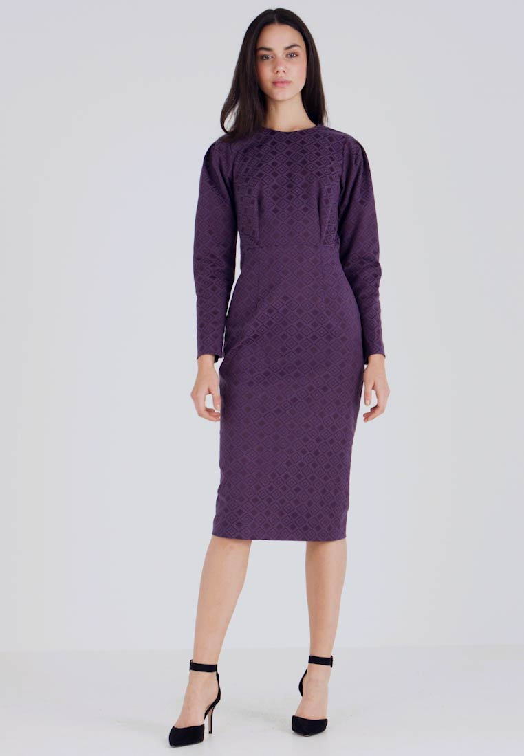 Closet - PUFF SLEEVE PENCIL DRESS - Pouzdrové šaty - purple - 1