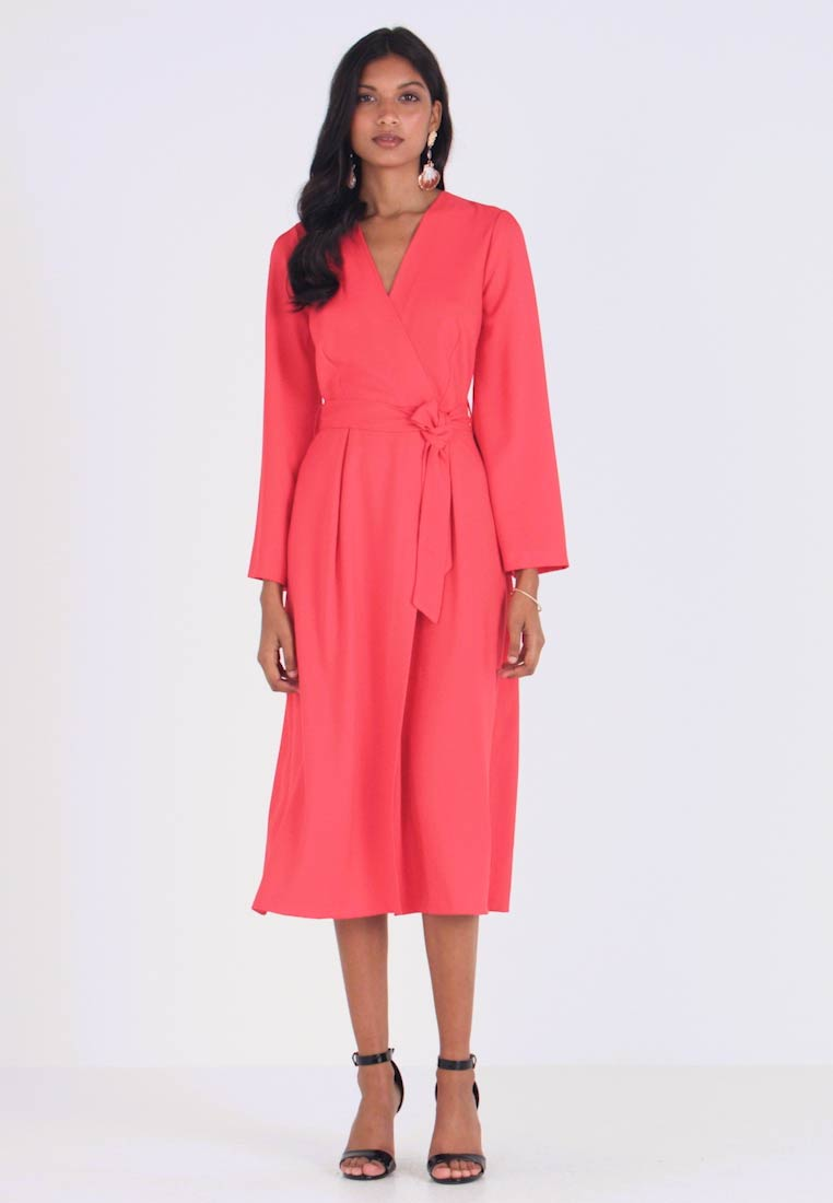 Closet - PLEATED SLEEVE WRAP DRESS WITH FRONT TIE - Day dress - red - 1