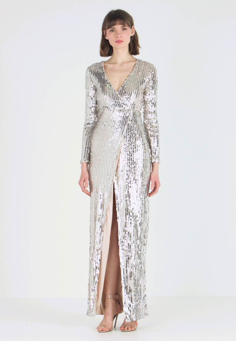 Club L London - WRAP FRONT ASSYMETRIC STRIPE SEQUIN DRESS - Cocktail dress / Party dress - silver - 1