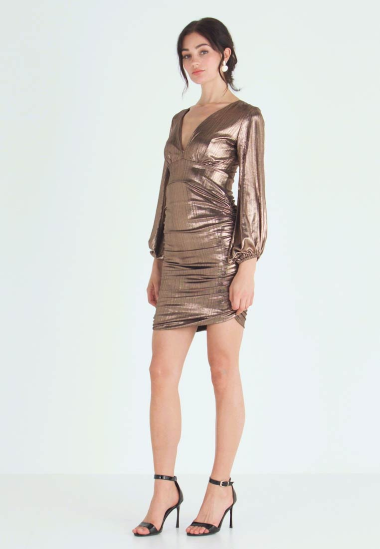 Club L London - PLUNGE RUCHED DRESS - Cocktail dress / Party dress - bronze - 1