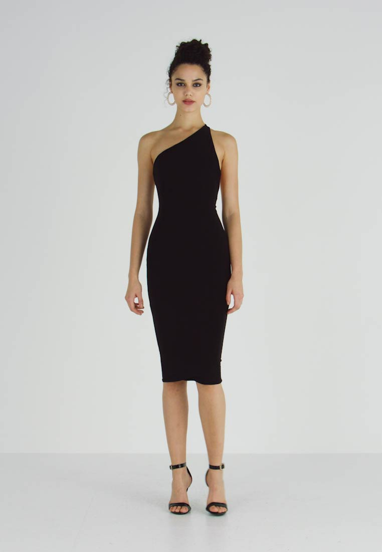 Club L London - ONE SHOULDER RUCHED BUM MIDI DRESS - Cocktailkjole - black - 1