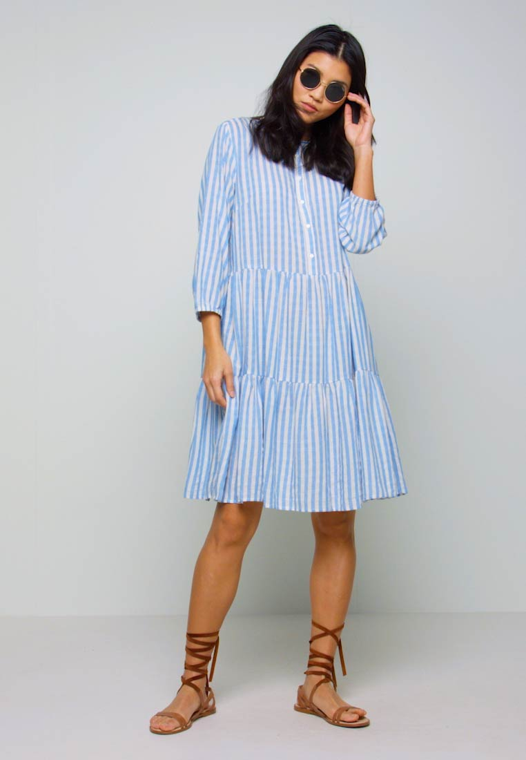 Culture - NOOR STRIPE DRESS - Blusenkleid - mazarine blue - 1
