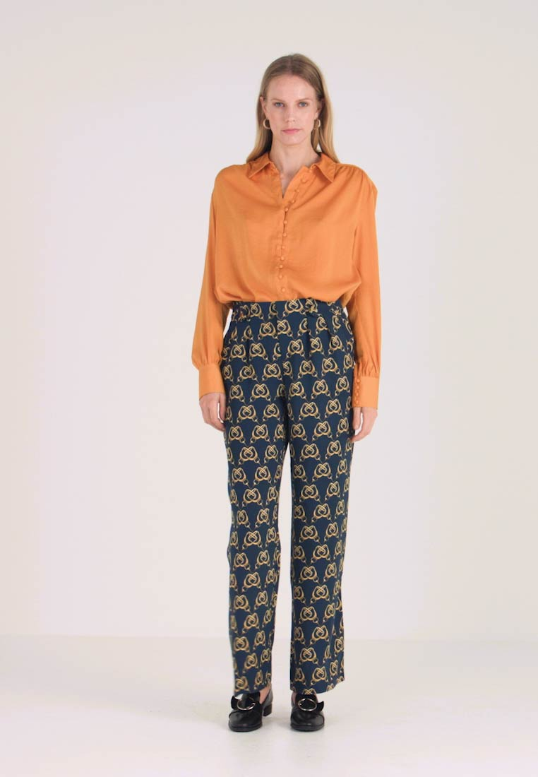 Cortefiel - PRINTED PAPERBAG STRAIGHT TROUSERS - Trousers - teal - 1