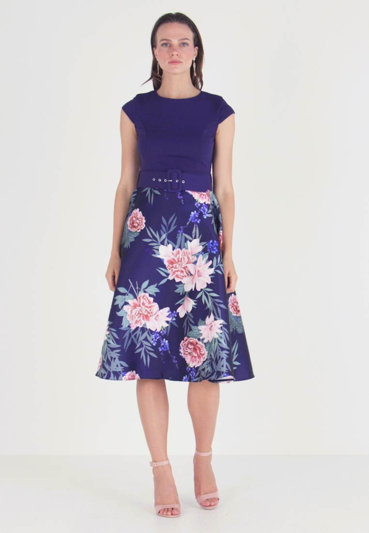 Dorothy Perkins - SOLID BODICE BELTED MIDI DRESS - Day dress - navy/print - 1