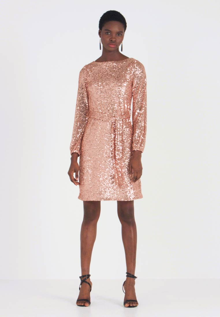 Dorothy Perkins - SEQUIN LONG SLEEVE FIT AND FLARE - Juhlamekko - rose gold - 1