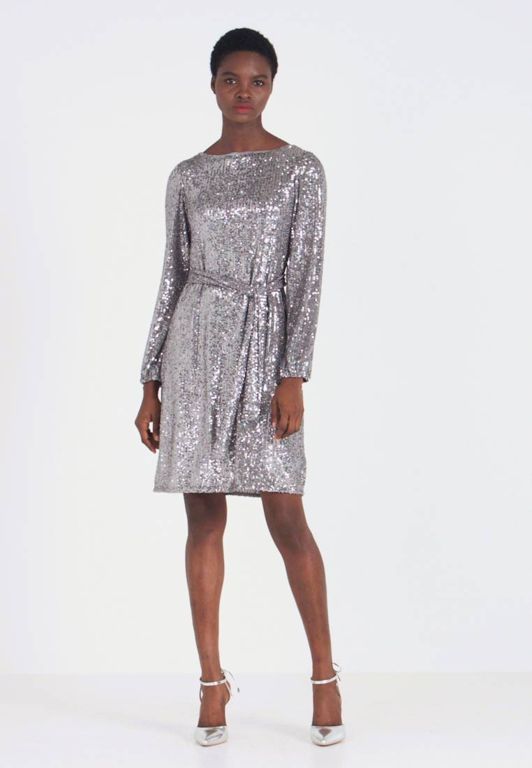 Dorothy Perkins - LONG SLEEVE FIT AND FLARE - Sukienka koktajlowa - silver - 1