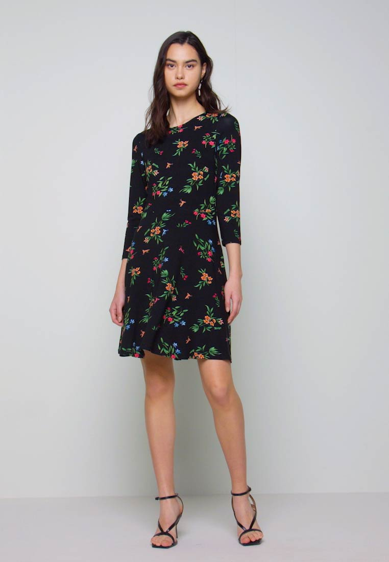 Dorothy Perkins - CREW NECK FIT AND FLARE BIRD FLORAL - Kotelomekko - black - 1