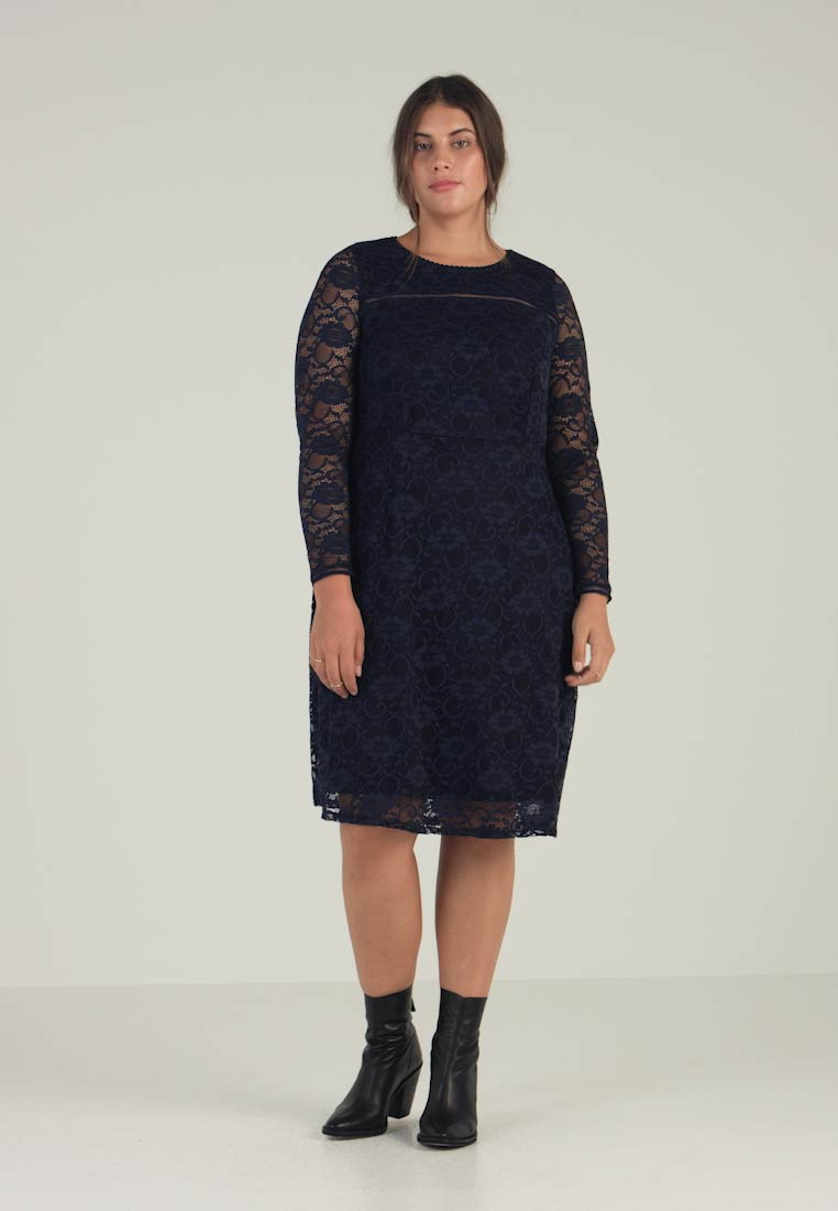 Dorothy Perkins Curve - LONG SLEEVE FIT AND FLARE DRESS - Cocktail dress / Party dress - navy - 1