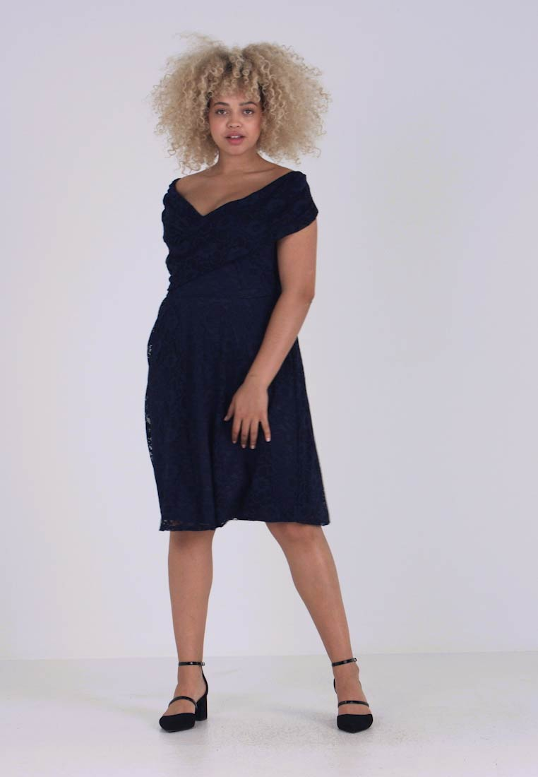 Dorothy Perkins Curve - FIT AND FLARE DRESS - Cocktail dress / Party dress - navy - 1