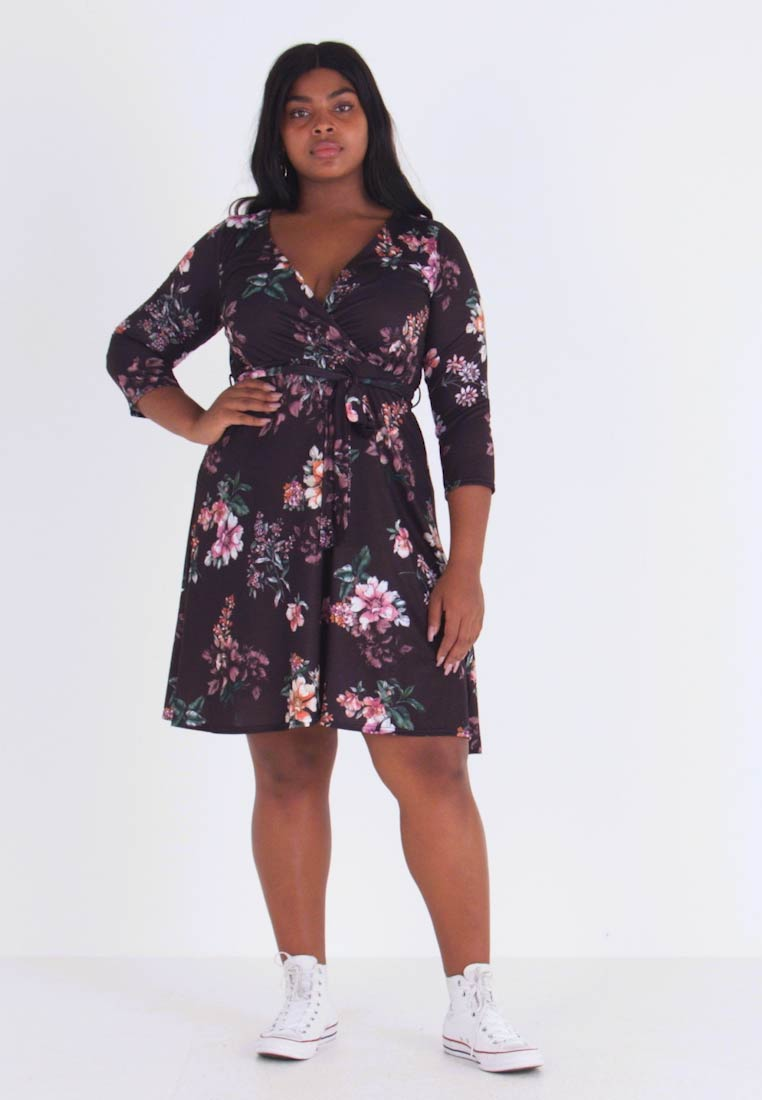 Dorothy Perkins Curve - WRAP DRESS FLORAL - Jerseykjoler - black - 1