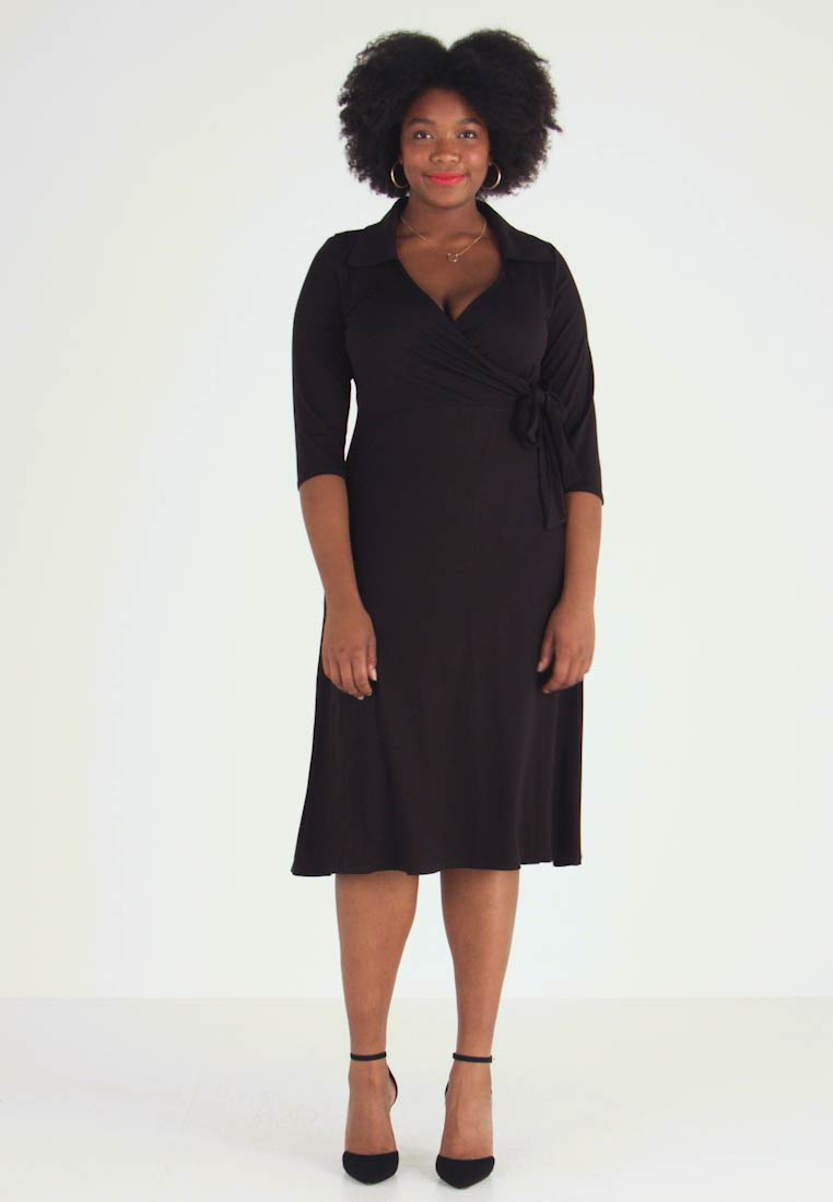 Dorothy Perkins Curve - OPEN COLLAR DRESS - Sukienka z dżerseju - black - 1