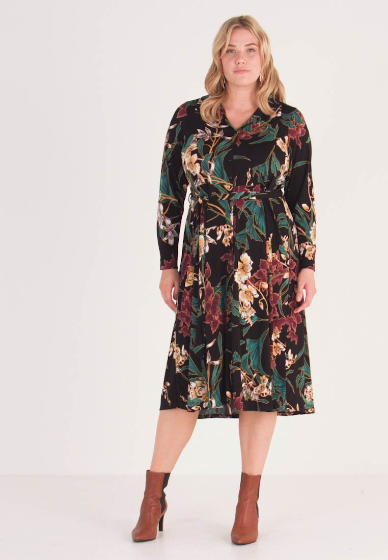 Dorothy Perkins Curve - FORMAL DRESS FLORAL - Robe en jersey - black - 1