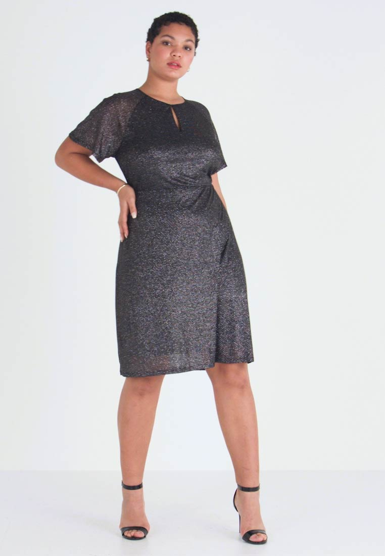 Dorothy Perkins Curve - KEYHOLE FIT AND FLARE - Day dress - black - 1