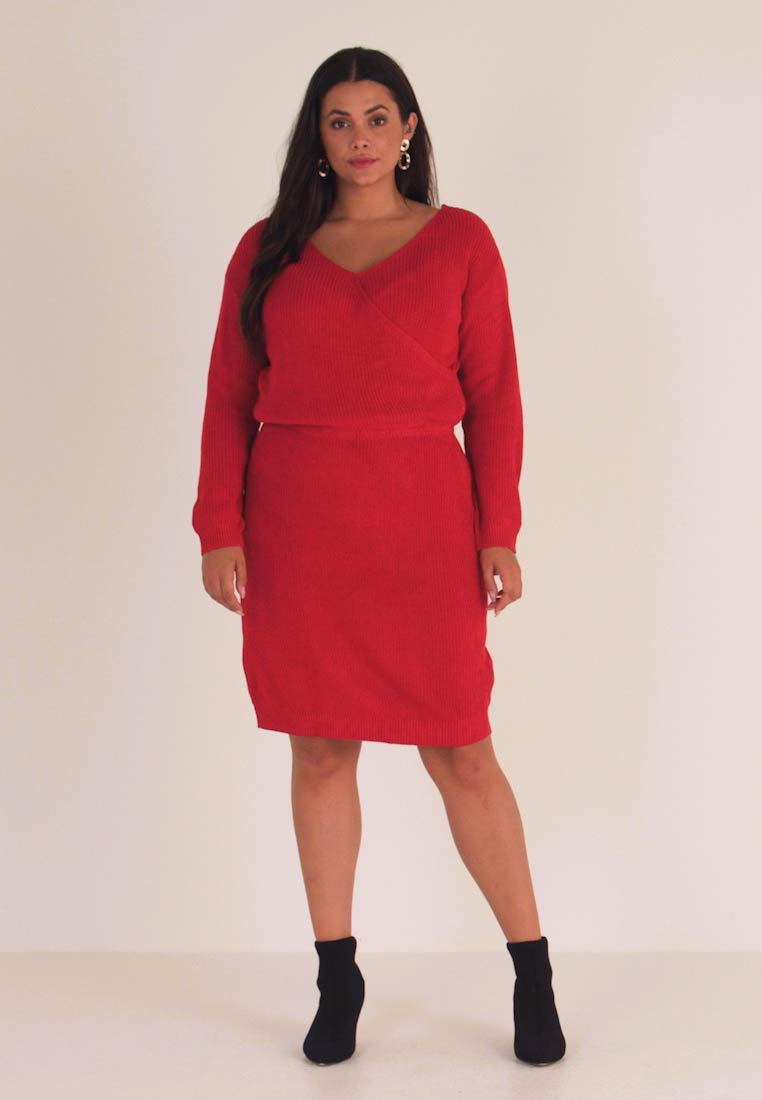 Even&Odd Curvy - Jumper dress - red - 1