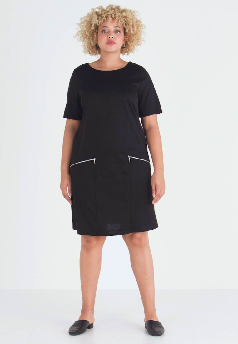 Evans - ZIP SHIFT DRESS - Žerzejové šaty - black - 1