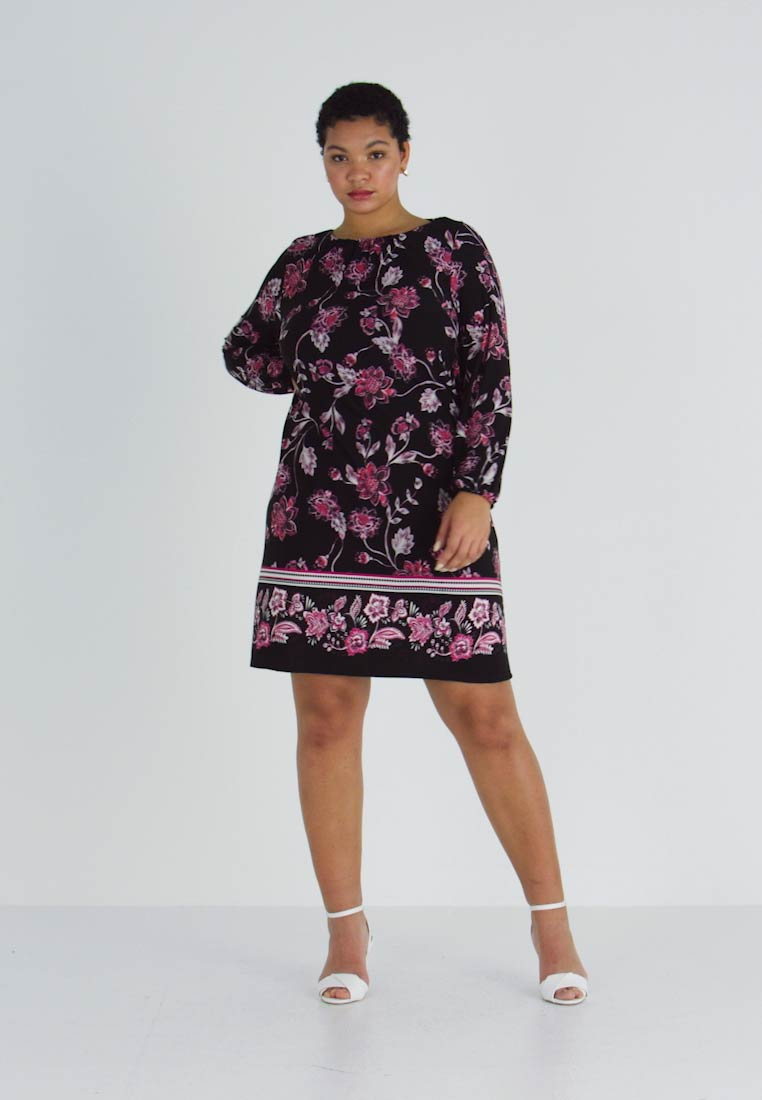 Evans - FLORAL BORDER SWING DRESS - Jerseykjole - black - 1