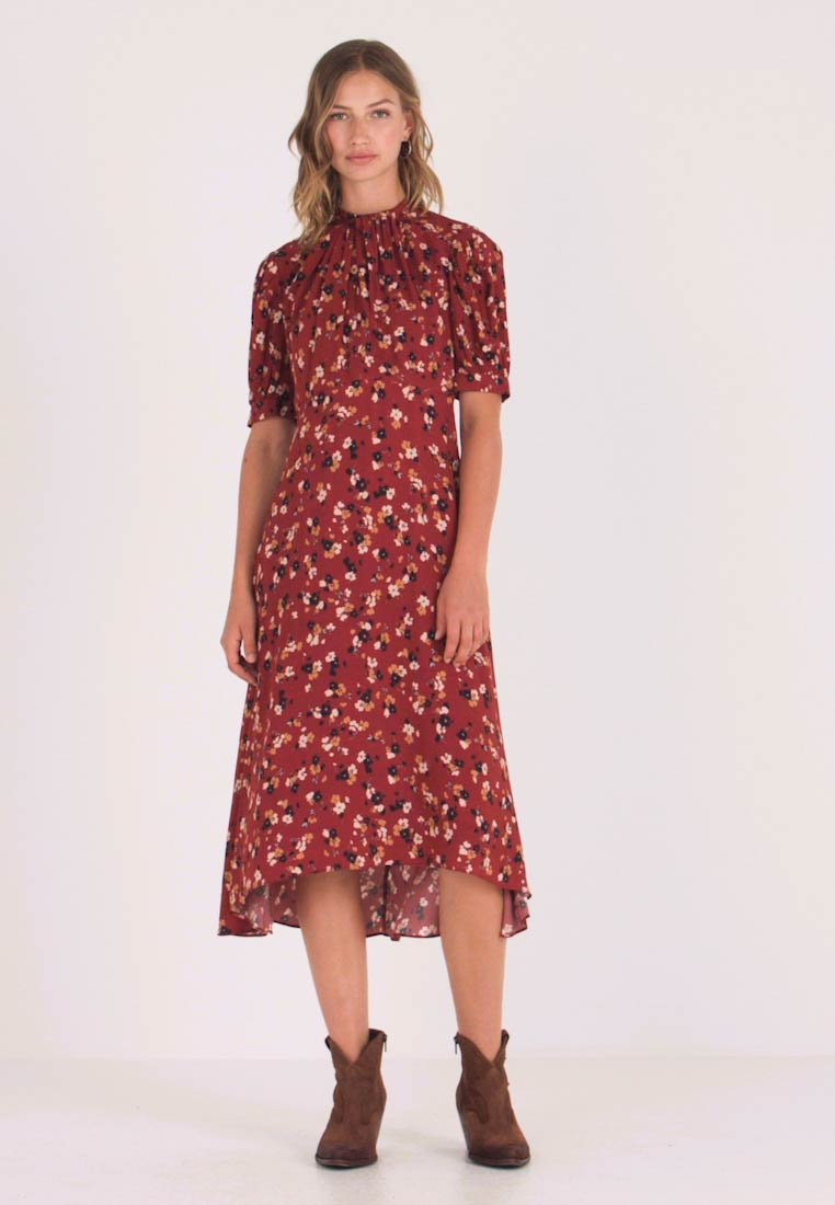 Forever New - TESSA PUFF SLEEVE MIDI DRESS - Vestido largo - bordeaux - 1