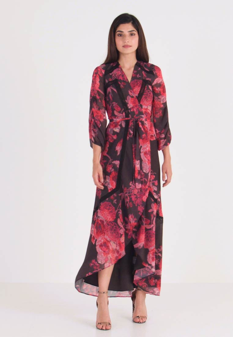 Hope & Ivy Petite - WRAP MAXI DRESS WITH TRIM DETAILS - Robe de cocktail - anthrazit/red - 1