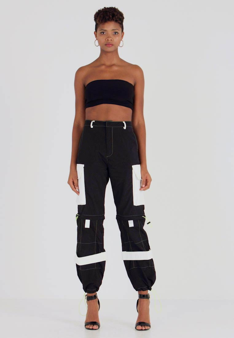 Jaded London - ZIP OFF OVERSIZED TROUSER - Tracksuit bottoms - black/white - 1