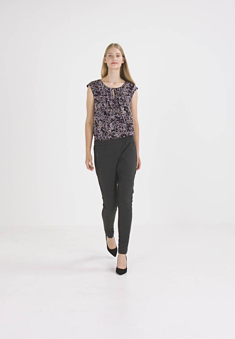 Kaffe - JILLIAN VILJA - Trousers - dark grey melange - 1