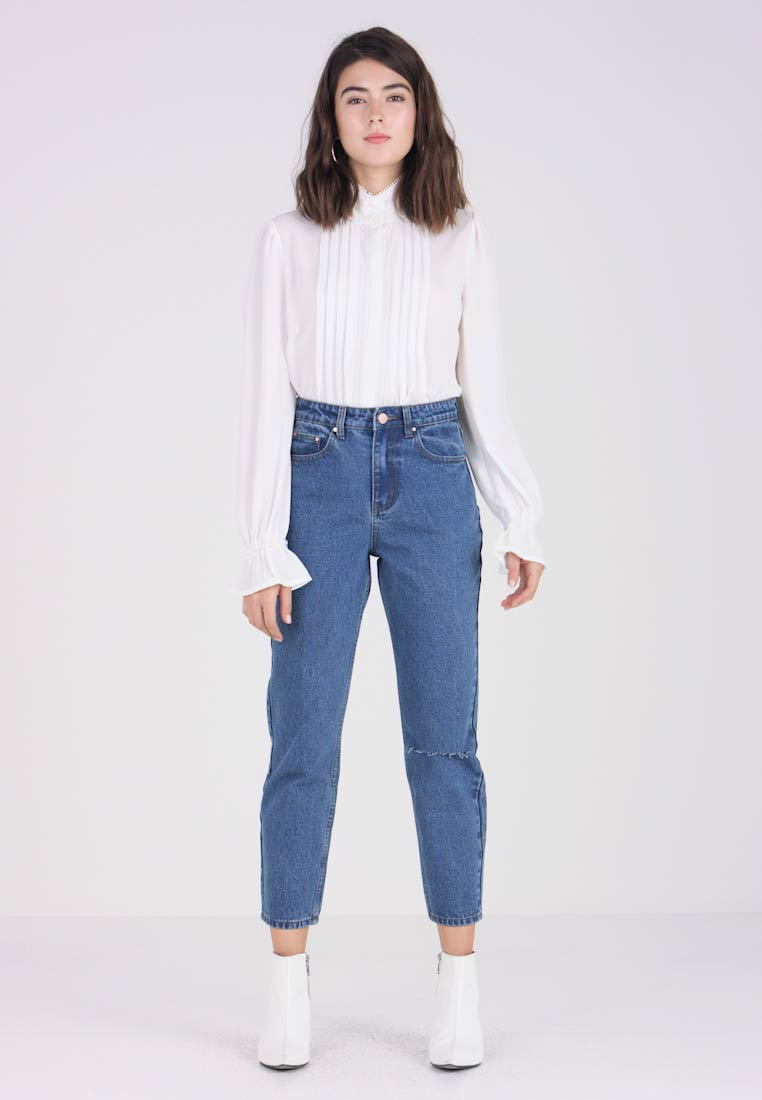 Lost Ink - HIGH RISE - Jeans Straight Leg - mid denim - 1