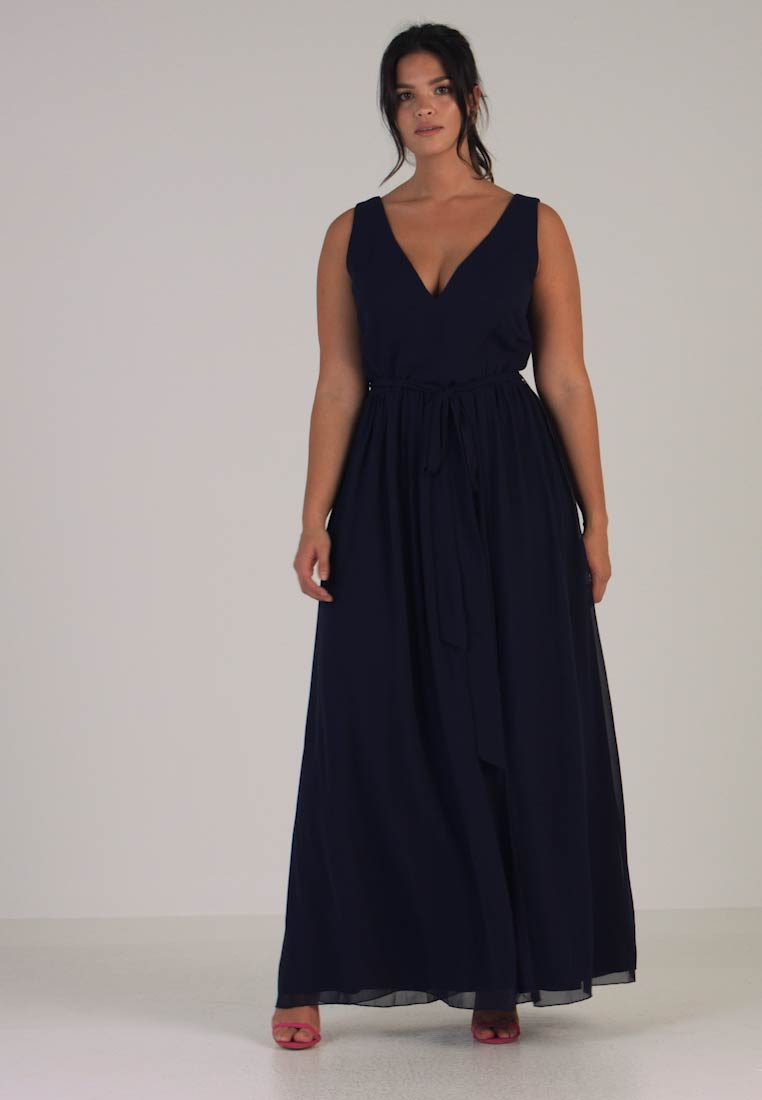 Little Mistress Curvy - ROSE NECK MAXI DRESS - Ballkjole - navy - 1