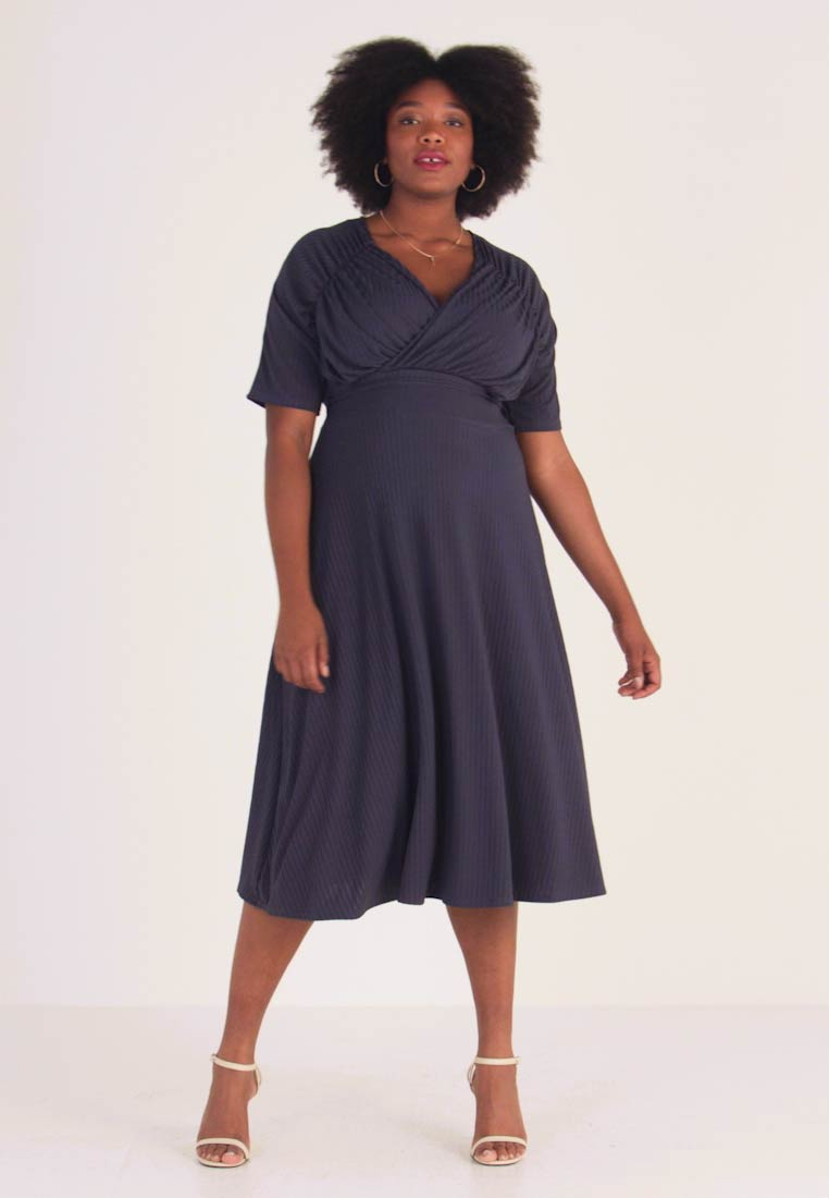 Lost Ink Plus - EXCLUSIVE DERSS WITH RUCHED SHOULDERS - Day dress - blue - 1