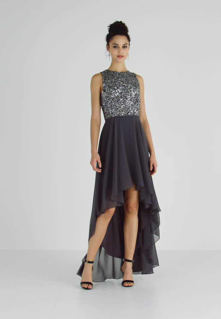 Lace & Beads - HANKERCHIEF HIGH LOW DRESS - Robe de cocktail - charcoal - 1