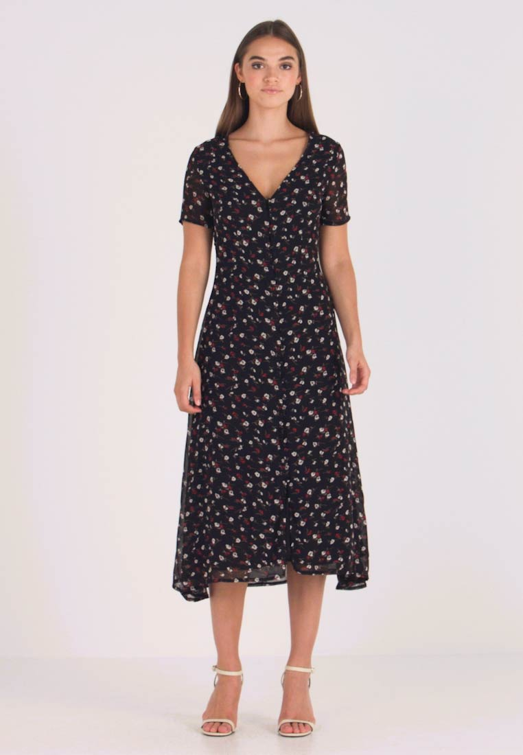 Missguided - FLORAL BUTTON FRONT MAXI DRESS - Maxi šaty - black - 1