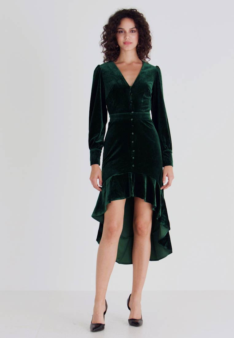 Missguided - BUTTON UP HIGH LOW DRESS - Day dress - emerald - 1
