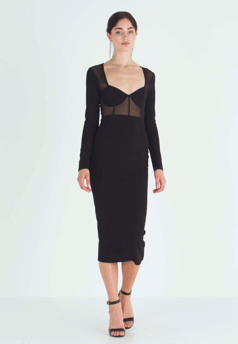 Missguided - PANELLED SQUARE NECK BODYCON DRESS - Day dress - black - 1