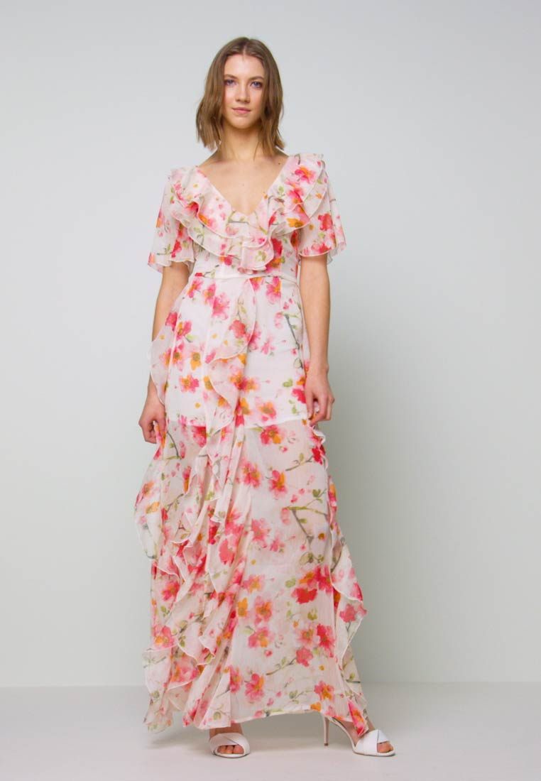 Missguided - FLORAL RUFFLE HIGH LOW MAXI DRESS - Suknia balowa - pink - 1