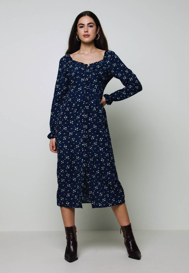 Missguided - BUTTON MILKMAID MIDI DRESS FLORAL - Kjole - navy - 1